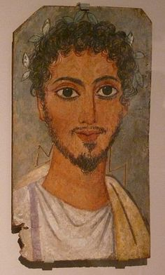 Portrait of a man in the Rhode Island School of Design Museum, Providence, RI.  Encaustic on limewood  AD 100-150  Found at Fayum