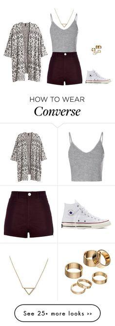 Converse, short gunda alto, blusa gris y capa blanca con figuras grises