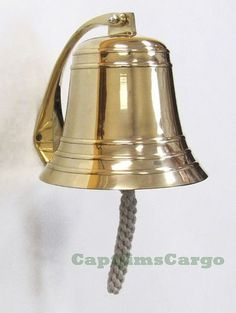 """Large Heavy Solid Cast Brass Ships Boat Bell 8.25"""""""" Marine Decor"""