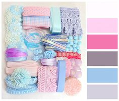 Ice Cream Color Palette Craft Pack|DIY Supply|Ribbon|Trimmings|Set|Scrapbook materials|Scrapbooking