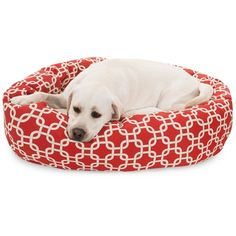 """Majestic Pet Products 40"""" Red Links Sherpa Bagel Bed"""