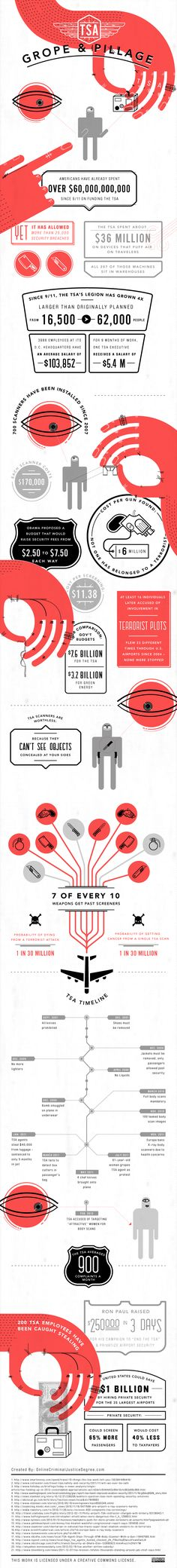 Grope and Pillage / TSA waste infographic #infographic #graphic_design