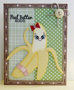 Get good boy recovery cards Peel Better Soon – a get well card created with … - Best Craft Ideas Hand Made Greeting Cards, Making Greeting Cards, Making Cards, Peachy Keen Stamps, Create A Critter, Get Well Soon Gifts, Fun Crafts, Card Crafts, Daycare Crafts