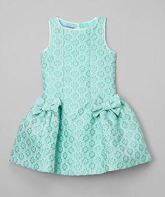 Look what I found on #zulily! ValMax Green Lattice Bow Dress - Girls by ValMax #zulilyfinds