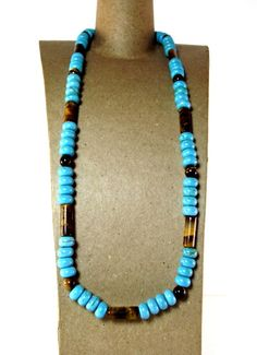 Turquoise and Tiger's Eye Men's Beaded Necklace by Designed By Audrey on Etsy, $39.00