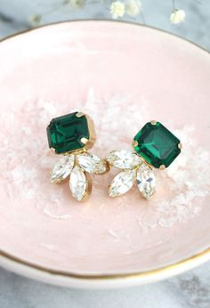 Emerald Earrings for Women, Green and White Swarovski Cluster Stud Earrings, Crystal Bride and Bridesmaids Unique Gifts, Handmade Wedding and Party Jewelry Emerald Earrings, Bridal Earrings, Crystal Earrings, Bridal Jewelry, Gold Jewelry, Fine Jewelry, Diamond Stud Earrings, Vintage Jewelry, Emerald Jewelry