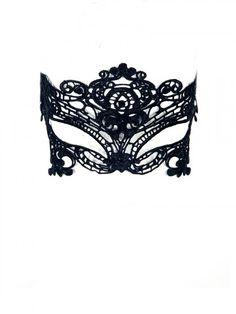 Black Fancy Crochet Lace Mask