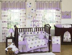 Purple and Brown Modern Polka Dot Baby Bedding 9pc Crib Set by JoJo Designs, http://www.amazon.com/dp/B002E9VLMG/ref=cm_sw_r_pi_dp_VC2eqb1K5RBGP