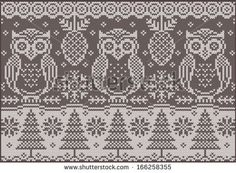 Knitted northern pattern with owls - downloadable