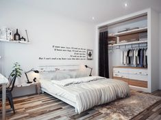 Bedroom, Bedroom Wall Quote White Wall Large Closet Design Double Black Table Lamp Comfy Bed Wooden Flooring Brown Fur Rug Black Chairs Wood...