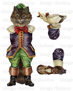 PUSS In BOOTS Cat Mechanical DOLL Paper Toy diecut by ImageChateau