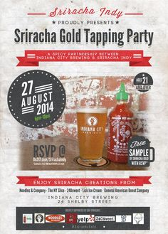 8/27/14: Sriracha Gold beer tapping party at Indiana City Brewing Company, Indianapolis
