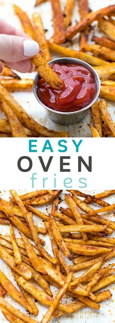 Easy oven fries is part of Fries recipe oven Easy Oven Fries Recipe perfectly seasoned french fries, baked in the oven, crispy on the outside, soft on the inside - Homemade Fries In Oven, Homemade French Fries, Recipe For Oven Fries, Oven French Fries, Fries In The Oven, Baked French Fries Recipe, Potato Dishes, Food Dishes, Potato Recipes
