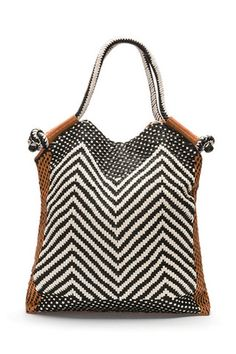 woven leather black and white tote