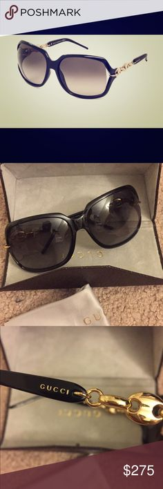 Authentic Gucci GG Sunglasses Excellent like new condition!!  Worn once.   No scratches, cracks or damage.  Color is black with gold side details.  Model number is GG 3584/s.  Size is 59mm.  This will come with it's original case and cleaning cloth.  Sorry❌trades!! Gucci Accessories Sunglasses