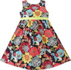 Girls Dress Floral Colorful Beach Sundress Children Clothes Size 2-10 New