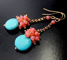 Hey, I found this really awesome Etsy listing at https://www.etsy.com/listing/175705557/pink-coral-earrings-turquoise-drops