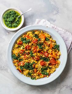 Impress your vegan friends with this vibrant sharing pasta dish served with a zesty herby salsa