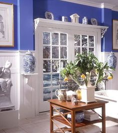 blue kitchen - have used this color in kitchens before, gorgeous and very timeless.