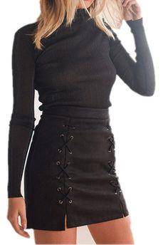 LOBiI78lu Women's Classic High Waist Lace Up Bodycon Faux Suede A Line Mini Pencil Skirt