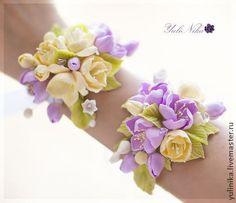 Свадебный комплект - сиреневый,желтый,фрезии,цветы яблони,ландыши,украшение для…