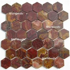 multi red onyx hexagon