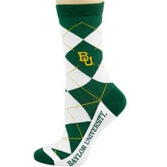 #Baylor Bears Ladies White-Green Argyle Socks