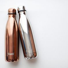 Rose Gold and White Gold S'well Bottles from the Metallic Collection // www.homearama.co.uk #swellbottle #metallic
