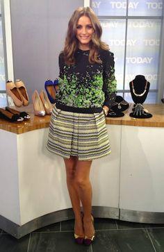 Olivia Palermo wearing Giambattista Valli Silk Cap Toe Metallic Leather Pumps, Milly Naomi Zig-Zag Tweed Skirt and Rolex Oyster Perpetual Datejust Watch.