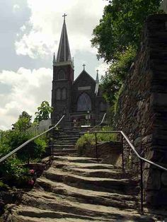 Going up the 18th century stairway to the church in Harpers Ferry.