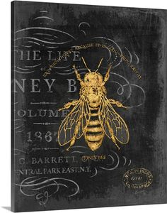 Honey Bee Wall Art by Chad Barrett from Great BIG Canvas. Vintage Bee art in classic home decor palette. Chad Barrett, Posca Art, Bee Art, Bee Design, Bees Knees, Canvas Prints, Big Canvas, Framed Prints, Mellow Yellow
