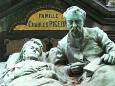 Charles Pigeon grave showing him and his wife in bed. Montparnasse Cemetery, Paris