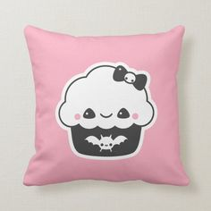 Shop Spooky Cute Pastel Grunge Pink Cupcake Throw Pillow created by sugarhai. Emo Room, Gamer Room, Pastel Home Decor, Goth Home Decor, Game Room Decor, Room Setup, Pastel Grunge, Pastel Goth, Goth Bedroom