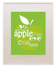 Apple of my Eye birth announcement print - personalize with name & details, such a sweet gift! $30