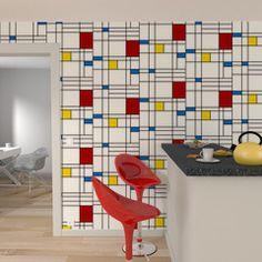 """Optez pour une déco artistique avec cet intissé POLYCUBE !   Les lignes noires tracent de multiples quadrilatères, tandis que les couleurs primaires telles que le bleu, le rouge et le jaune animent l'ensemble. Ce papier peint inspiré de la plus célèbre oeuvre de Mondrian offre un effet géométrique, pour une déco des plus design.   Ce motif abstrait, repris aussi bien dans le domaine de la décoration d'intérieur que dans la haute couture - notamment par Yves Saint-Laurent et sa """"Robe…"""