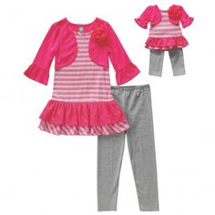 """""""Pink Jewels"""" Mock Shrug Legging Set with Matching Outfit for 18 inch Play Doll"""