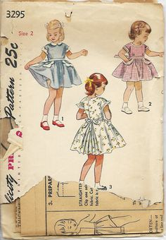 1950's Simplicity 3295 Child's One Piece Dress And Panties Sewing Pattern, Scalloped Trim & Inverted Back Pleat, Size 2, Breast 21 by DawnsDesignBoutique on Etsy
