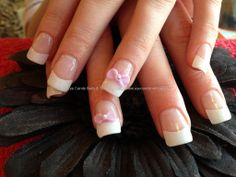 Full set of acrylic nails with pink 3D acrylic bows