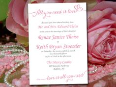 "Wedding Invitation Template Download - Darling Rose Invitation Card Printable ""Love Song"" DIY Wedding - Heart Wedding Invitation by PaintTheDayDesigns on Etsy"