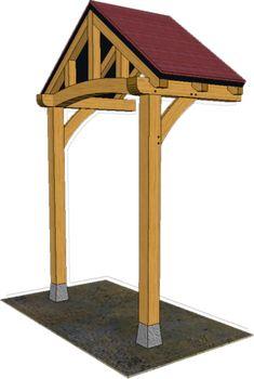 2 POST PORCHES — TIMBER FRAME PORCHES Porch Awning, Front Door Porch, Front Porch Design, Porch Canopy, Door Canopy, Home Exterior Makeover, Exterior Remodel, Porch Timber, Front Porch Addition