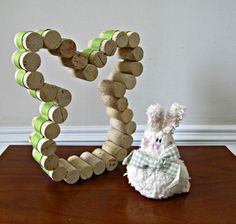 Wine Cork Bunny with Spring Green Ribbon  by LizzieJoeDesigns