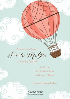 Free baby shower invitation hot air balloon up up and away via www an adventurous beginning to a baby shower full of surprises a classic hot air balloon filmwisefo