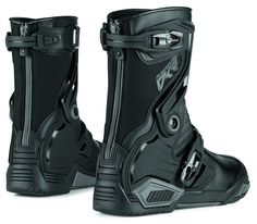Icon Mens Raiden DKR Armored Rear Entry Zip Leather Motorcycle Riding Boots Black