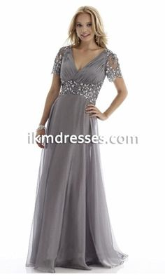 Plus Size Cheap Groom Dress Mother of the Bride Dresses With Short Sleeves 2015 Suits Evening Gowns Gray Long V Neck Chiffon Crystals Evening Dresses With Sleeves, Mob Dresses, Formal Evening Dresses, Plus Size Dresses, Evening Gowns, Short Dresses, Bridesmaid Dresses, Wrap Dresses, Dress Prom