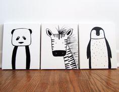 "Set of three - Modern Kids and Nursery Art Original Paintings 16"" x 20"" on 3/4"" depth canvas - Custom (Your choice of 3 animals/colours) via Etsy"