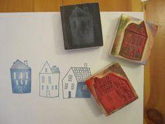 3 houses stamp set.