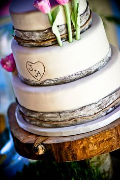 Bark.  Great for rustic or nature theme weddings, bark has made a resurgence for wedding decor.
