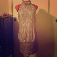 ‼️Gold Pleated Dress Size L‼️ Has been worn, size L. The picture does show a tank underneath it, it has a keyhole in the back! Dresses