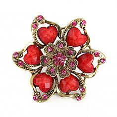 Exquisite Resin Heart Petal Flower Brooch(Random Color)