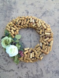 Natural wine cork wreath with silk floral by CorksandCrafts, $95.00